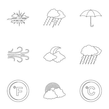 Observation icons set. Outline set of 9 observation vector icons for web isolated on white background