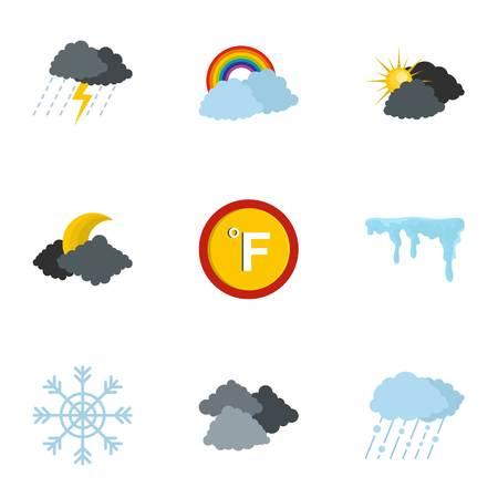 Hydrometeorological icons set. flat set of 9 hydrometeorological icons for web isolated on white background