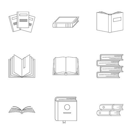 Tome icons set. Outline set of 9 tome vector icons for web isolated on white background