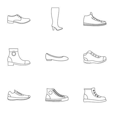 Slipper icons set. Outline set of 9 slipper vector icons for web isolated on white background