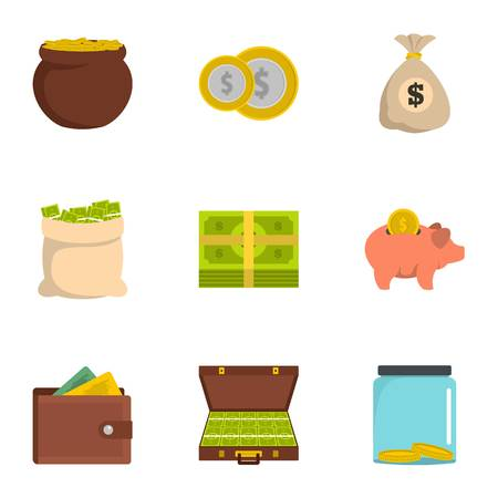 Necessary funds icons set. Flat set of 9 necessary funds vector icons for web isolated on white background Vetores