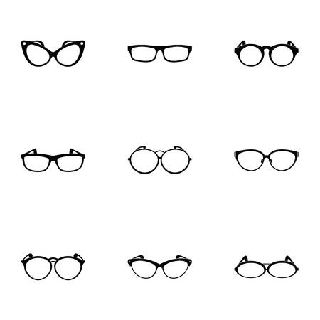 Spectacle icons set. Simple set of 9 spectacle vector icons for web isolated on white background