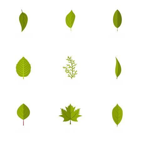 Leaf icons set. flat set of 9 leaf vector icons for web isolated on white background