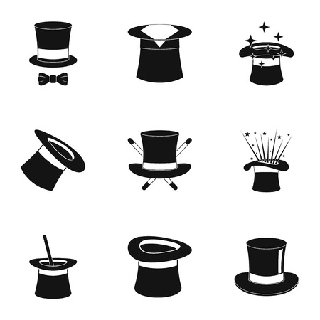 Hat icons set. Simple set of 9 bonnet vector icons for web, isolated on white background.