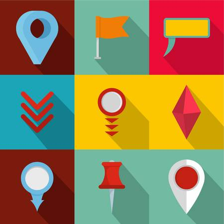 Point on map icons set. flat set of 9 point on map vector icons for web isolated on background