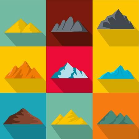 Elevation icons set. flat set of 9 elevation vector icons for web isolated on background Illustration