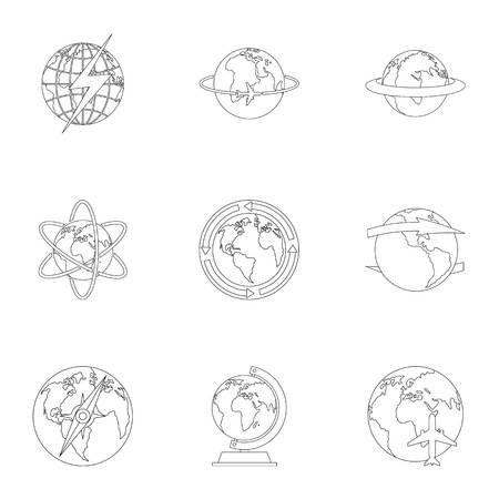 Humankind icons set. Outline set of 9 humankind vector icons for web isolated on white background Çizim