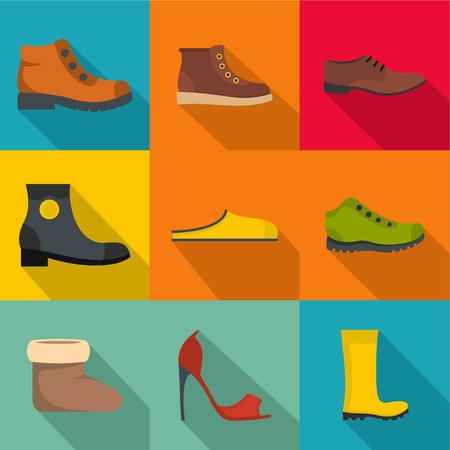 Shoemaker icons set. flat set of 9 shoemaker vector icons for web isolated on background
