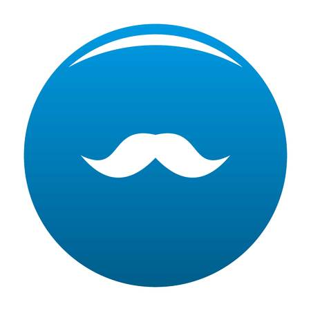 English mustache icon vector blue circle isolated on white background