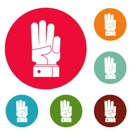 Hand three icons circle set vector, isolated on white background. Illustration