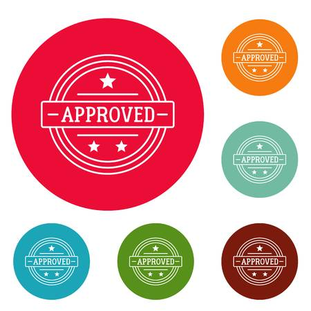Approved logo. Simple illustration of approved vector logo for web Çizim