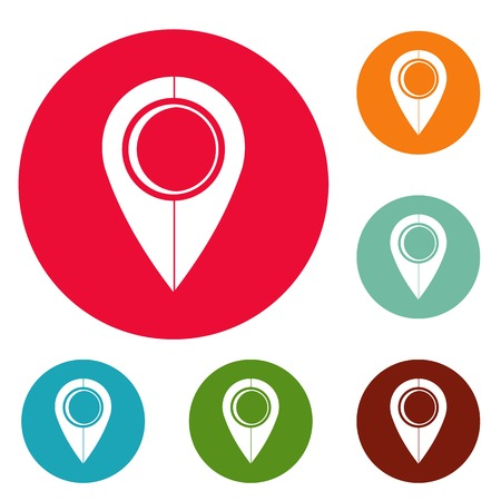 Map pin icons circle set vector isolated on white background Illustration