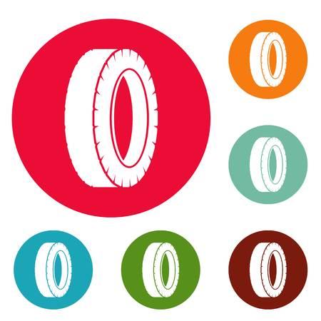 Turning tire icons circle set vector isolated on white background