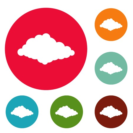 Cloudiness icons circle set vector, isolated on white background.