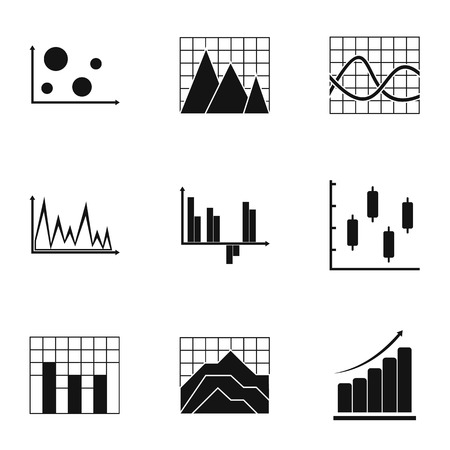 Graph icons set. Simple set of 9 graph vector icons for web isolated on white background