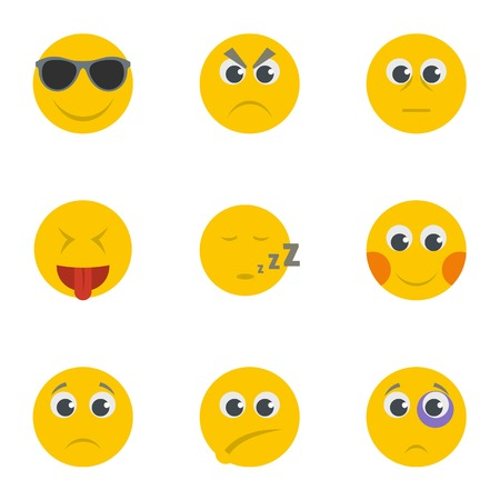 Smirk icons set. Cartoon set of 9 smirk vector icons for web isolated on white background