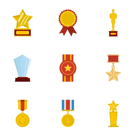 Certificate or award icons set. Cartoon set of 9 entrust vector icons for web isolated on white background Illustration