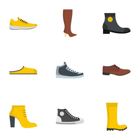 Slipper or shoes  icons set. flat set of 9 slipper vector icons for web isolated on white background Çizim