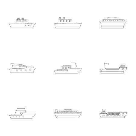 Powerboat icons set. Outline set of 9 powerboat vector icons for web isolated on white background Иллюстрация