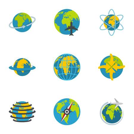 Terrestrial globe icons set. flat set of 9 terrestrial globe vector icons for web isolated on white background