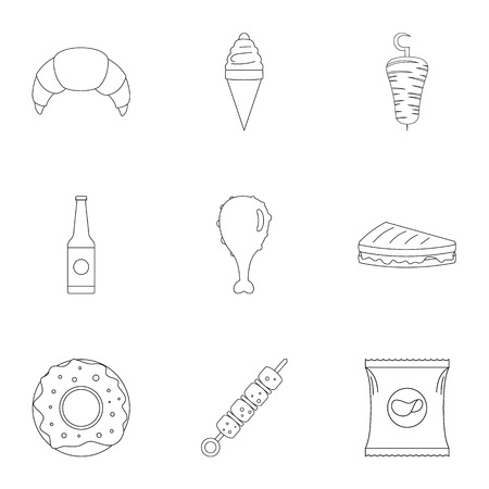 Crumbly icons set. Outline set of 9 crumbly vector icons for web isolated on white background