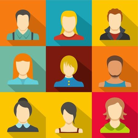Man avatar icons set. flat set of 9 man avatar vector icons for web isolated on white background Illustration