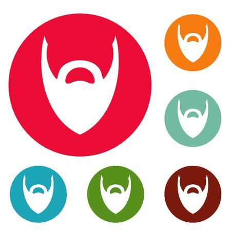 Heavy beard icons circle set vector isolated on white background