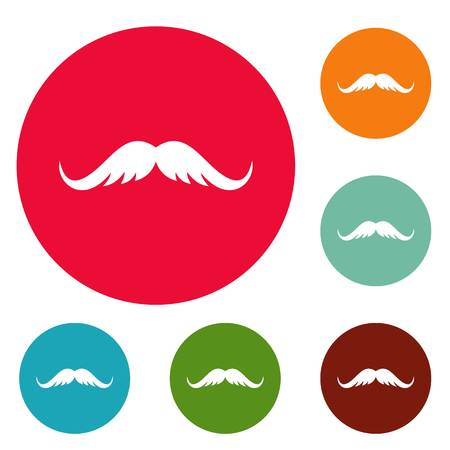 Cutting mustache icons circle set vector isolated on white background