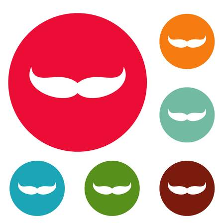 Pointing mustache icons circle set vector isolated on white background