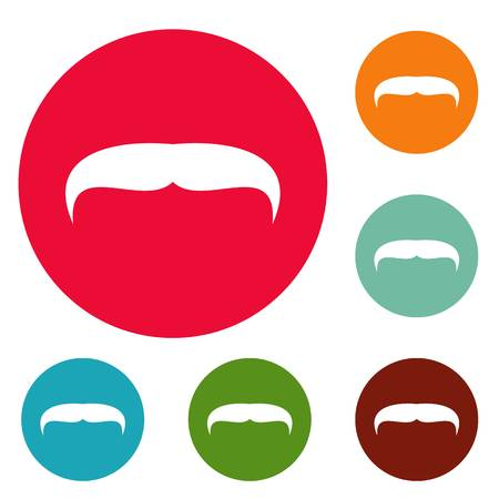 Villainous mustache icons circle set vector isolated on white background