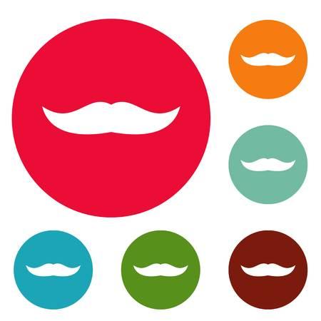 Mustache chevron icons circle set vector isolated on white background Illustration