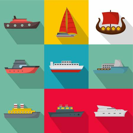 Seagoing vessel icons set. Flat set of seagoing vessel vector icons for web isolated on white background Illustration