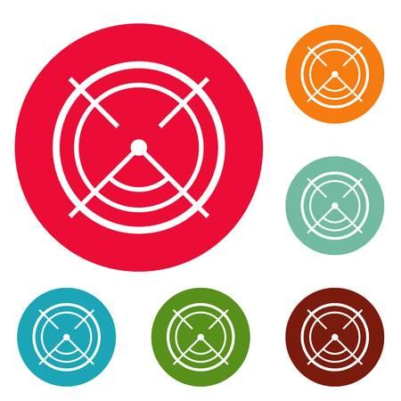 Aim radar icons circle set vector isolated on white background Illustration