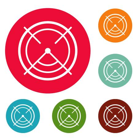 Aim radar icons circle set vector isolated on white background Vectores