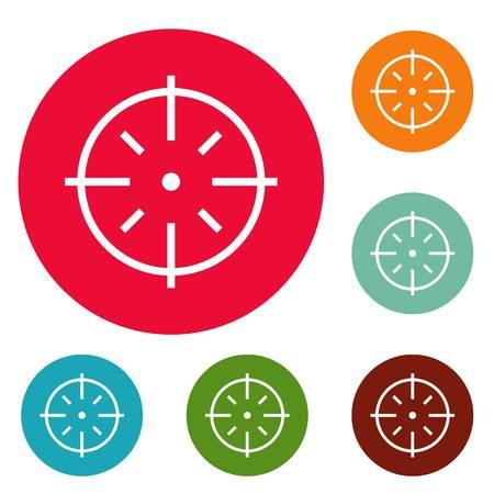abc cible icons set cercle vecteur isolé sur fond blanc
