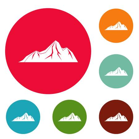 Tall mountain icons circle set vector isolated on white background