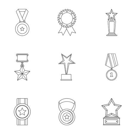 Merit icons set. Outline set of 9 merit vector icons for web isolated on white background