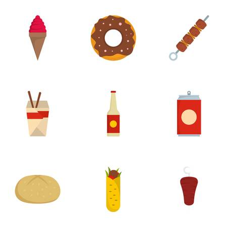 Devour icons set. flat set of devour vector icons for web isolated on white background