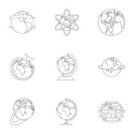 Home world icons set. Outline set of home world vector icons for web isolated on white background