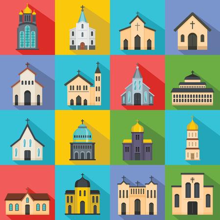 Church building icons set. Flat illustration of church building vector icons for web Illustration