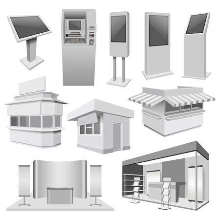 Kiosk stand booth mockup set. Realistic illustration of 10 kiosk stand booth mockups for web Stock Illustratie