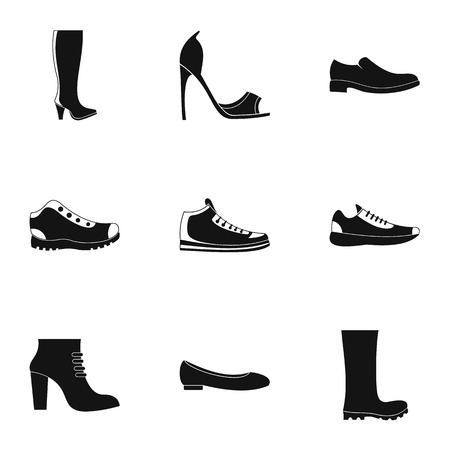 Sturdy shoes icons set. Simple set of 9 sturdy shoes vector icons for web isolated on white background