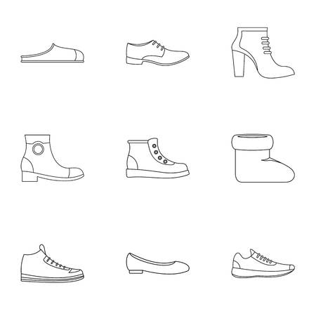 Designer shoes icons set. Outline set of 9 designer shoes vector icons for web isolated on white background