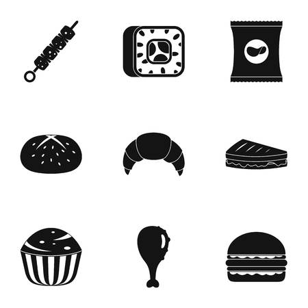 Eat too much icons set. Simple set of 9 eat too much vector icons for web isolated on white background