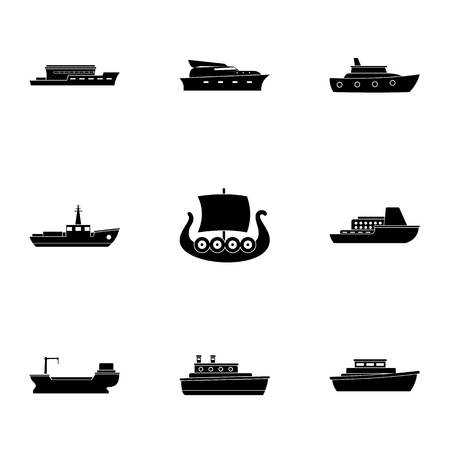 Seafaring icons set. Simple set of seafaring vector icons for web isolated on white background