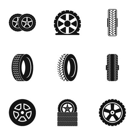 Car wheel icons set. Simple set of car wheel vector icons for web isolated on white background Stock Illustratie