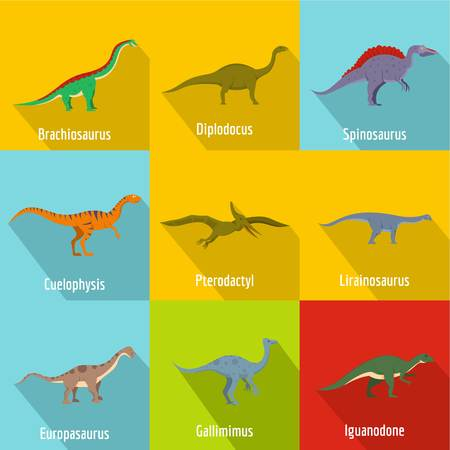 Raptor icons set. Flat set of raptor vector icons for web isolated on white background Illustration