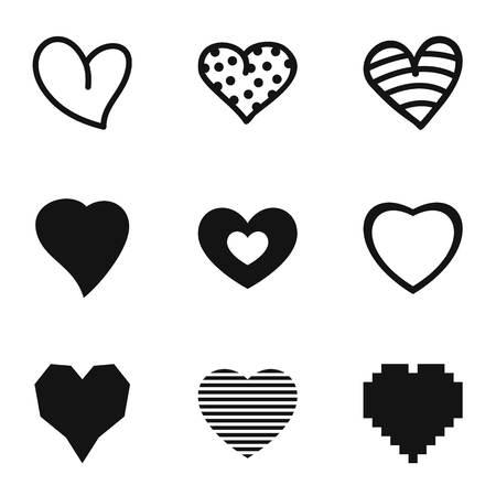 Cardiac icons set. Simple set of cardiac vector icons for web isolated on white background Çizim
