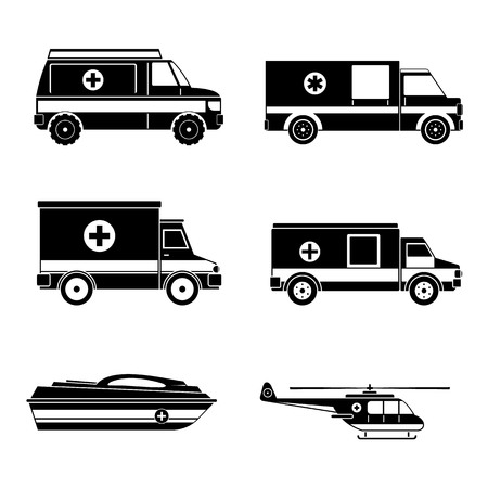 Ambulance transport icons set. Simple illustration of ambulance transport vector icons for web