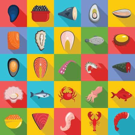 Seafood fresh fish food icons set. Flat illustration of seafood fresh fish food vector icons for web
